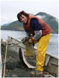 Leslie with fish
